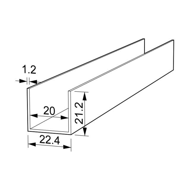 U-SHAPE ALUMINUM PROFILE 22.4x21.2 ANODISED